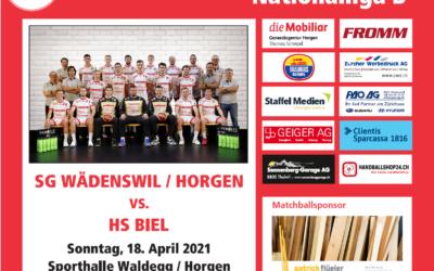 Vorschau: NLB: SG Wädenswil-Horgen – HS Biel, Sonntag, 18.04.2021, 16.00Uhr, Waldegg Horgen