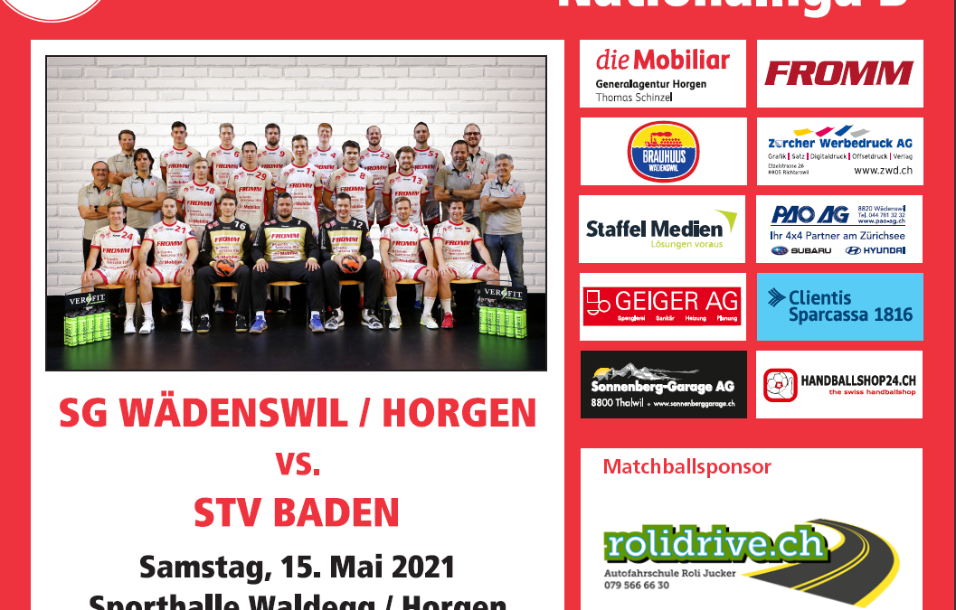 Vorschau:  NLB SG Wädenswil/Horgen – STV Baden 15.05.2021, 19:00Uhr